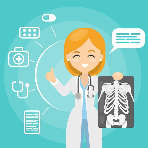 Médecin Avec Radiographie. Femme Tenant Des Images De Rayons. Vecteur Premium
