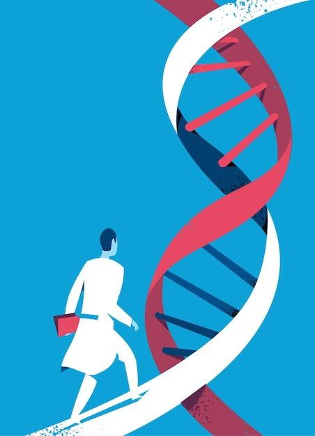 Médecin Ou Scientifique Marchant Sur L'hélice D'adn Vecteur Premium