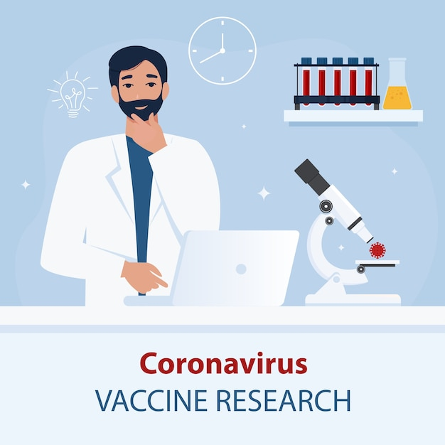 Médecin, Scientifique à La Recherche D'un Vaccin. Concept De Coronavirus Covid-19. Plat Vecteur Premium