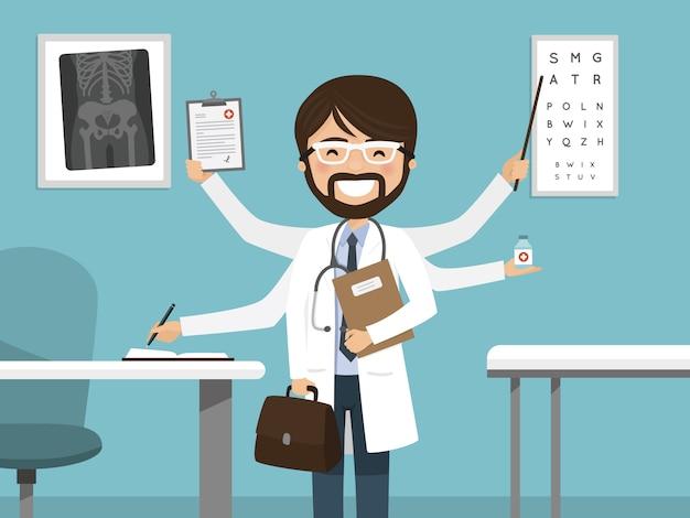 Médecin de sexe masculin occupé multitâche souriant. statut professionnel à l'hôpital Vecteur Premium