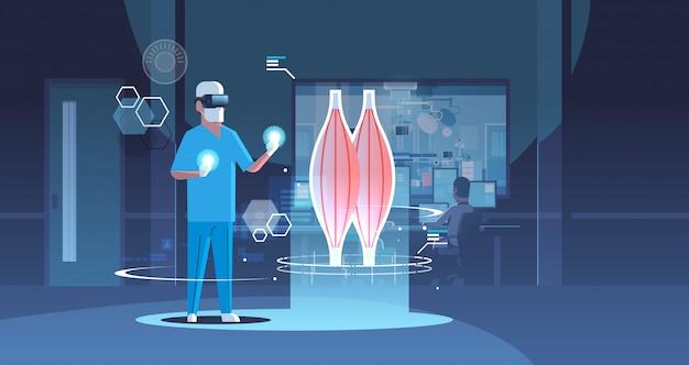 Médecin De Sexe Masculin Portant Des Lunettes Numériques à La Recherche De La Réalité Virtuelle Muscle Organe Humain Anatomie Vecteur Premium