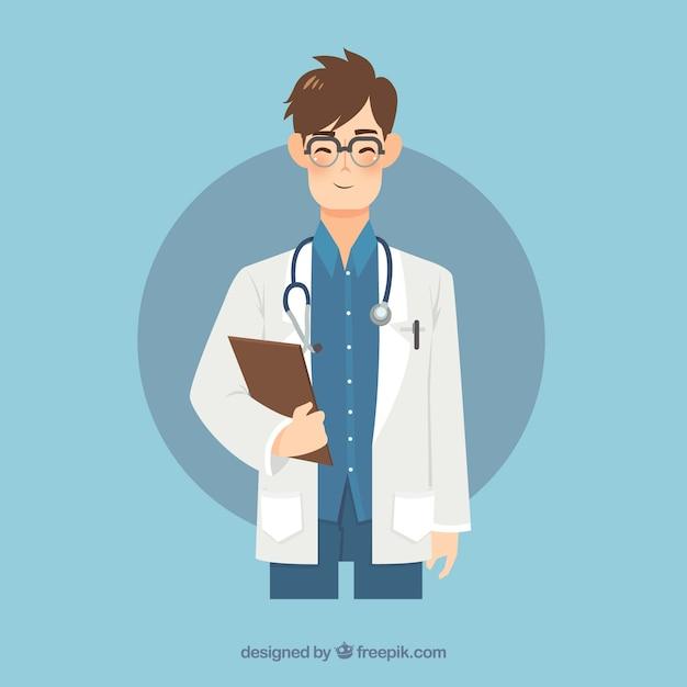 Médecin Souriant Avec Presse-papiers Et Stéthoscope Vecteur gratuit