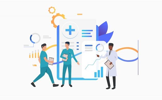 Médecin et techniciens discutant du dossier médical Vecteur gratuit