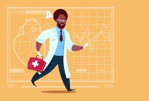 Médecin urgentiste afro-américain dispensé dans un hôpital avec des cliniques médicales Vecteur Premium