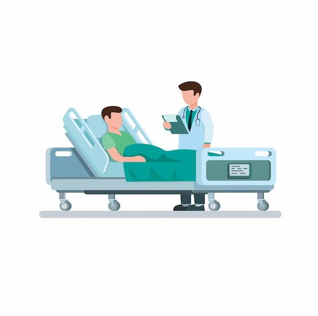 Médecin Visitant Le Patient Et Explique Le Diagnostic De La Maladie En Illustration Plate De Dessin Animé Isolé Sur Fond Blanc Vecteur Premium