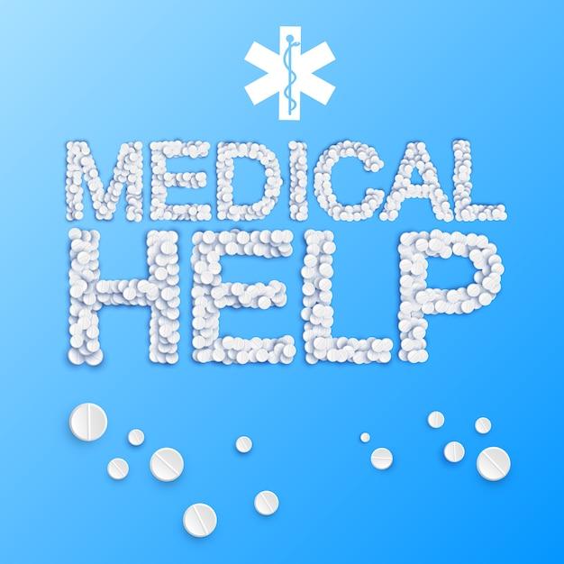 Médecine Légère Avec Inscription D'aide Médicale à Partir De L'illustration De Pilules Et De Médicaments Vecteur gratuit
