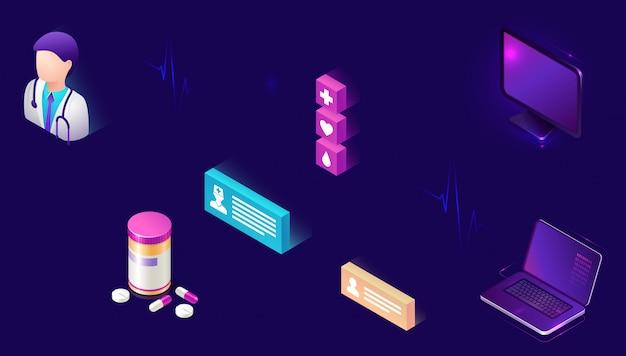 Médecine en ligne, icônes isométriques, télémédecine Vecteur gratuit
