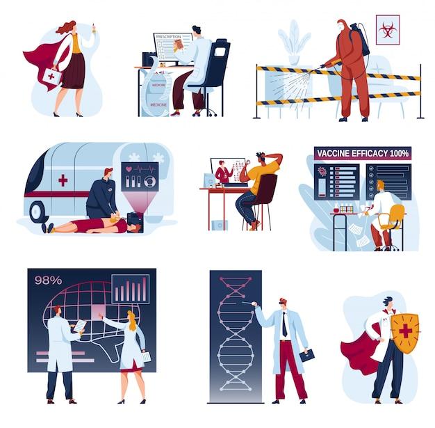 Médecine Médecine Des Illustrations Futures, Collection D'innovation Futuriste De Dessin Animé De Santé, Analyse De Science Médicale Ai Vecteur Premium