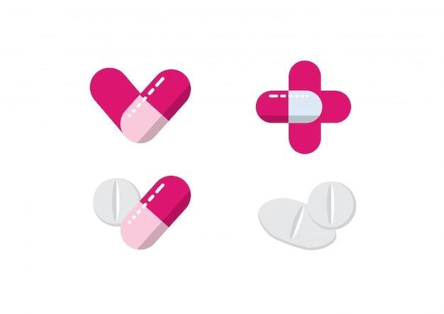 Médecine pilules illustration vecteur de soins de santé Vecteur Premium
