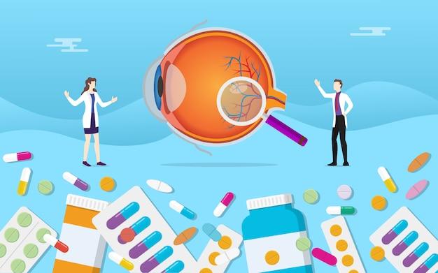 Médecine des yeux avec des capsules de médicaments Vecteur Premium