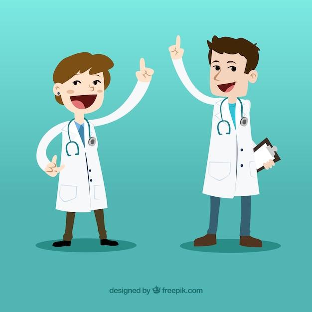 Médecins de dessin animé happy Vecteur gratuit