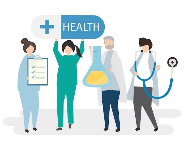 Médecins et illustration de la santé Vecteur gratuit