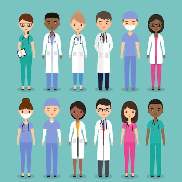 Médecins, Infirmières Et Chirurgiens. Vecteur Premium