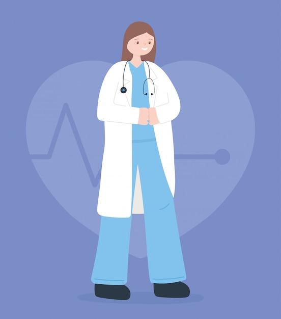 Médecins Et Infirmières, Femme Médecin Avec Stéthoscope Et Caricature De Manteau Vecteur Premium