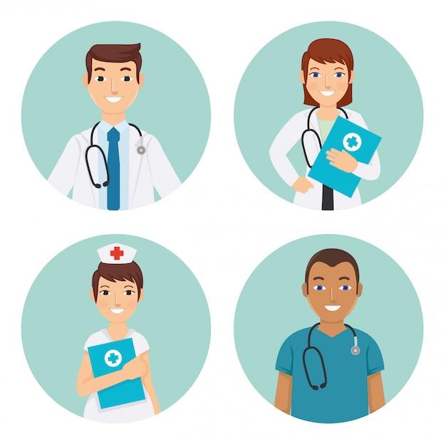 Médecins et infirmiers à l'hôpital Vecteur Premium