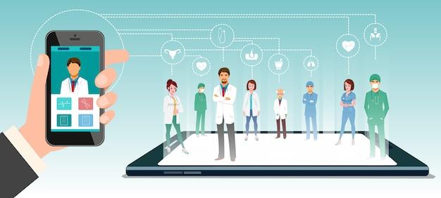 Médecins En Ligne Vecteur Premium