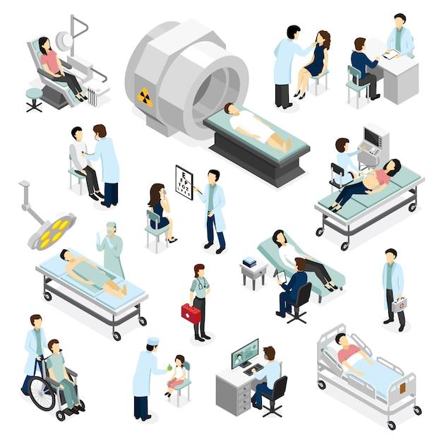 Médecins et patients en clinique Vecteur gratuit