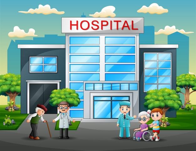 Des médecins et des patients en train de dessiner devant l'hôpital Vecteur Premium
