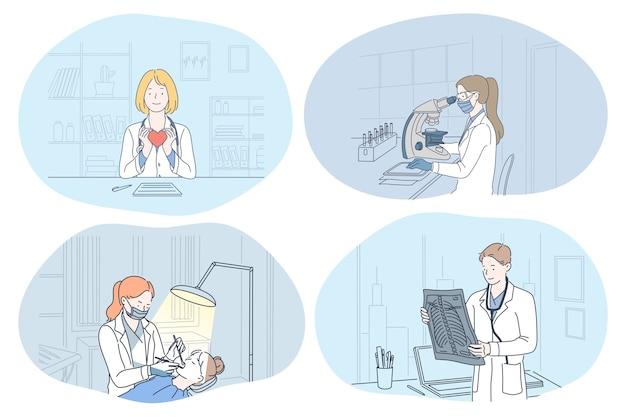 Médecins De Personnes Détenant L'image Aux Rayons X De La Colonne Vertébrale Vecteur Premium