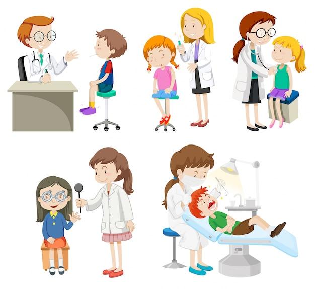 Les médecins traitent l'illustration des patients Vecteur gratuit