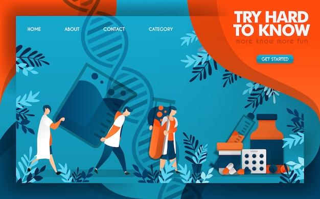 Les médecins travaillent dur pour connaître la science de la médecine efficace Vecteur Premium