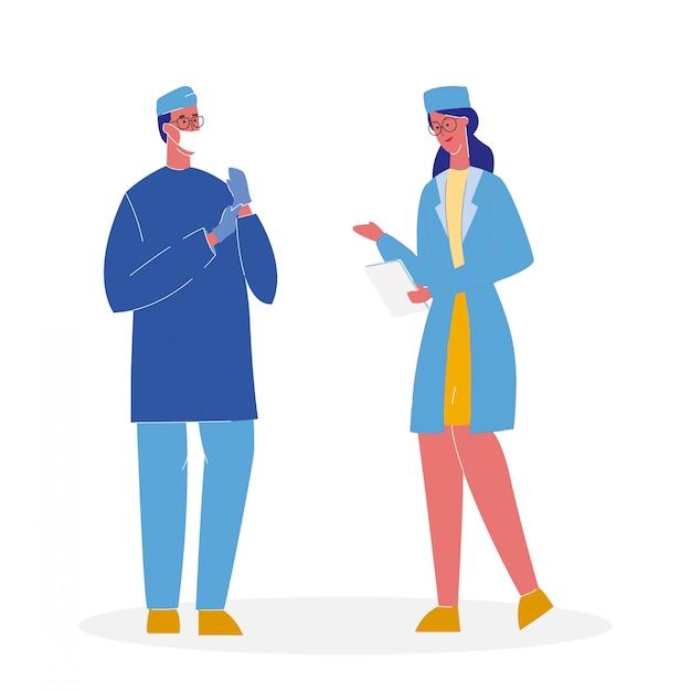 Médecins en uniforme cartoon illustration vectorielle Vecteur Premium