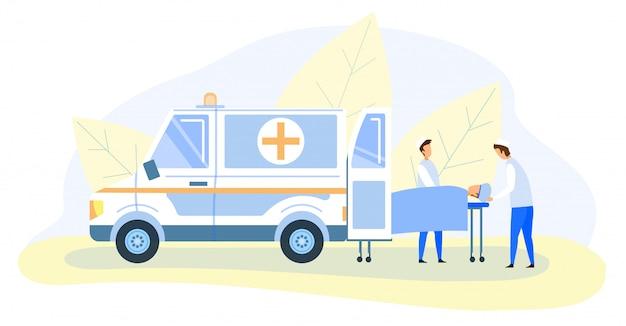 Médecins d'urgence transportant la victime sur une civière Vecteur Premium