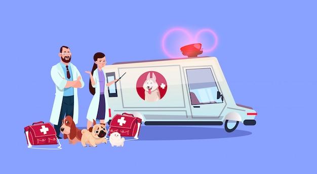 Médecins vétérinaires debout à la voiture ambulance concept de médecine vétérinaire Vecteur Premium