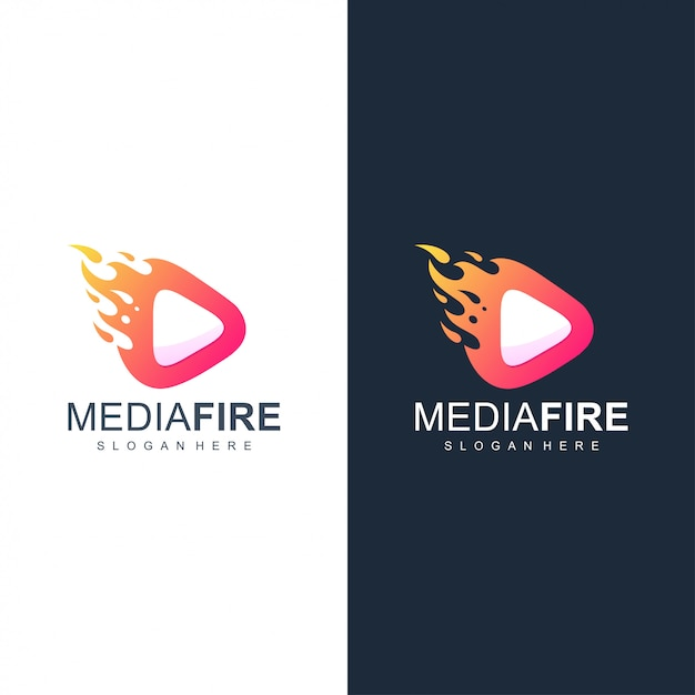 Media fire logo Vecteur Premium