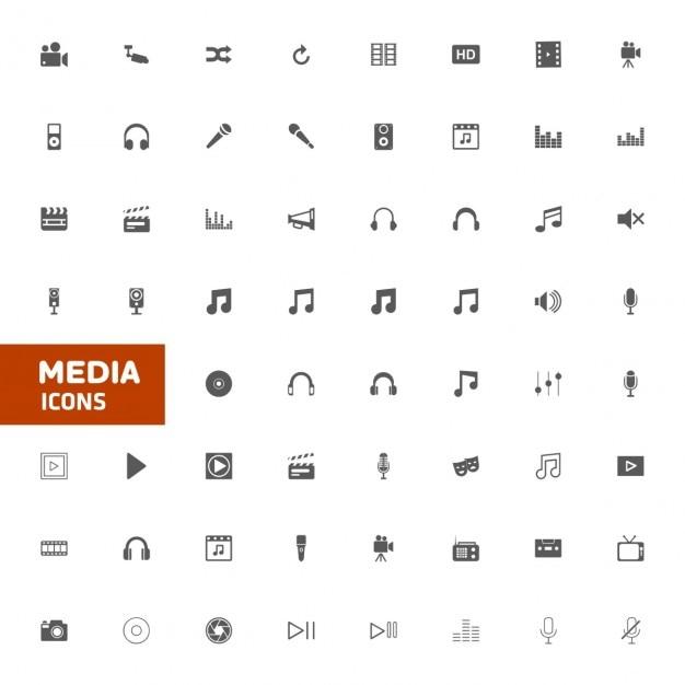 Média multimedia icon set vector illustration Vecteur gratuit