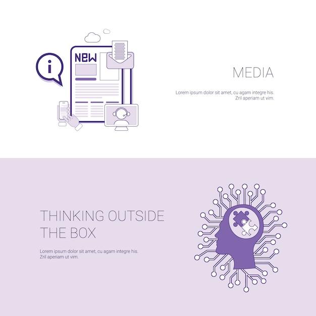 Média et pensée en dehors de la bannière web modèle de boîte avec espace de copie Vecteur Premium