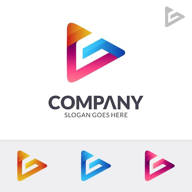 Media Play Lettre G Logo Vecteur Premium