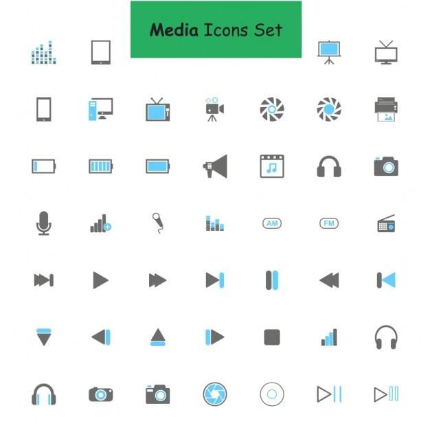Médias Icon Set Vecteur gratuit