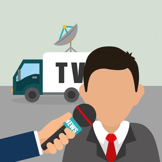 Médias d'information et diffusion Vecteur Premium
