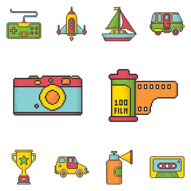 Les médias et les jeux rétro pixel art style jeu d'icônes vectorielles. Vecteur Premium