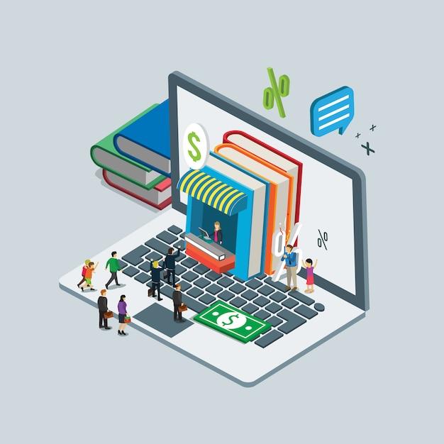 Médias numériques sur le livre en ligne shopping concept isométrique Vecteur Premium