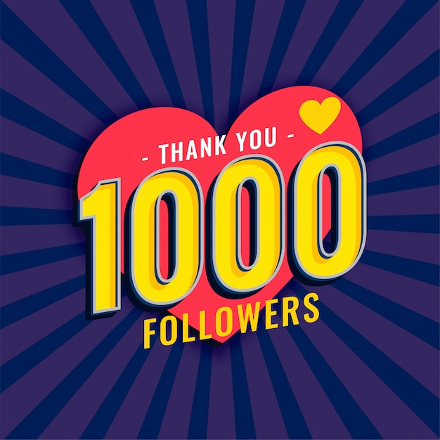 Médias sociaux 1000 abonnés fond Vecteur gratuit