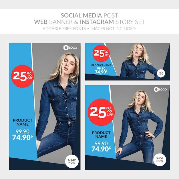 Les médias sociaux affichent une collection de bannières web et d'instagram Vecteur Premium