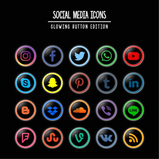 Médias sociaux glowing button edition Vecteur Premium