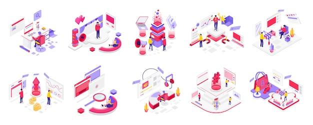 Médias sociaux et marketing numérique isométrique Vecteur Premium