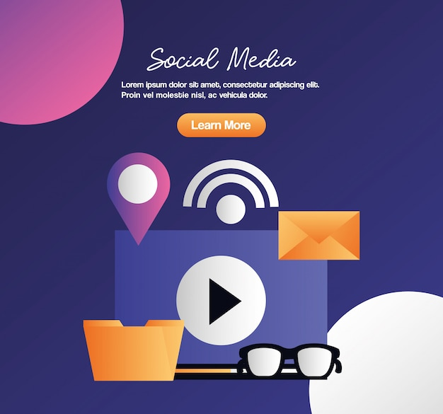 Médias sociaux numériques Vecteur Premium