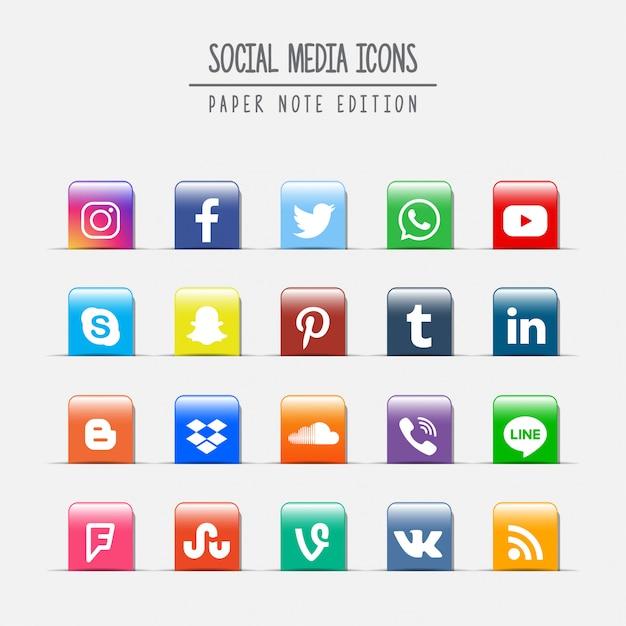 Médias sociaux paper note edition Vecteur Premium