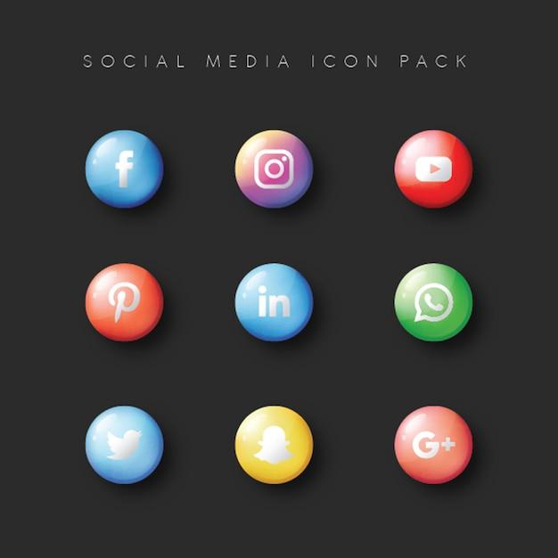 Les médias sociaux populer icon 9 set Vecteur Premium