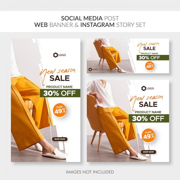 Les médias sociaux post bannière web et instagram histoire ensemble Vecteur Premium