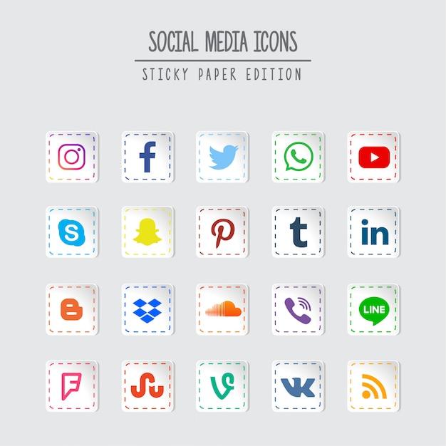 Médias sociaux sticky paper edition Vecteur Premium