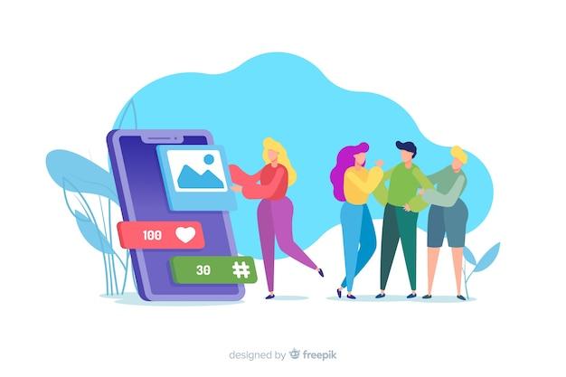 Les médias sociaux tuent le concept d'amitié illustré Vecteur gratuit