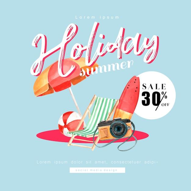 Médias sociaux voyage en vacances été la plage palmier vacances, Vecteur gratuit
