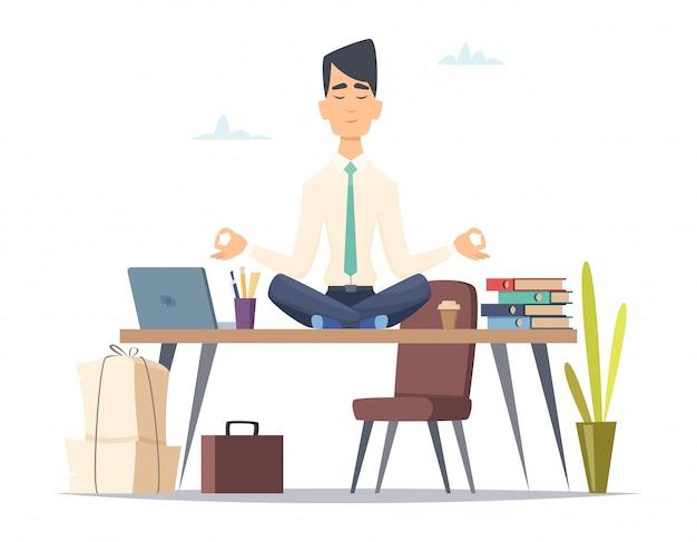 Méditation Yoga Homme D'affaires. Bureau, Détendre, Dans, Stressé, Travail, Occupé, Homme, Séance, Dans, Yoga Vecteur Premium