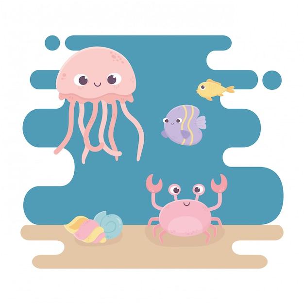 Méduse Crabe Poissons Escargot Et Coquille Vie Dessin Animé Sous La Mer Vecteur Premium