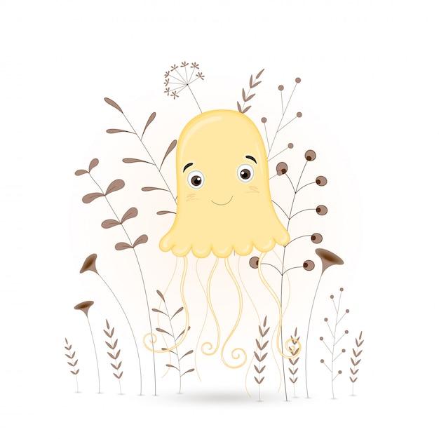 Méduses animaux de dessins animés avec des branches et des plantes. Vecteur Premium
